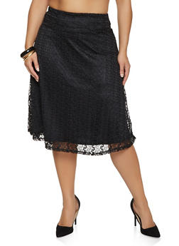 Plus Size Lace Overlay Skater Skirt - 8444062702756