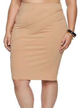 Plus Size Pintuck Pencil Skirt - 8444062702768
