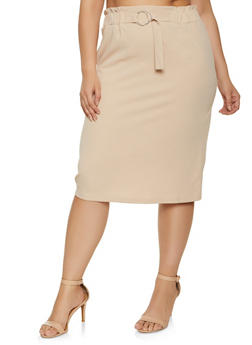 Plus Size Belted Waist Pencil Skirt - 8444062702789