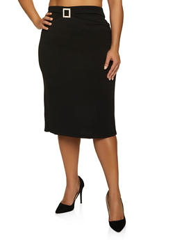 Plus Size Rhinestone Buckle Pencil Skirt - 8444062705732