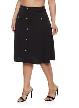 Plus Size Button Front Skirt
