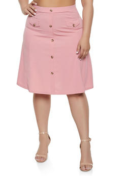 Plus Size Button Front Skater Skirt - 8444062706269