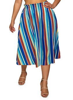 Plus Size Pleated Striped Skirt - 8444062706277