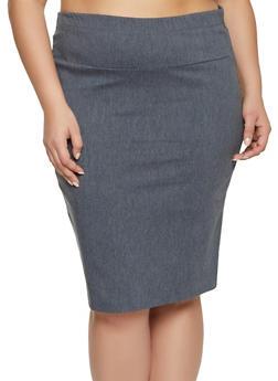 Plus Size Basic Stretch Pencil Skirt - 8444062708465