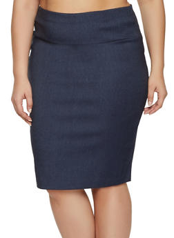 Plus Size Basic Stretch Pencil Skirt - 8444062708465