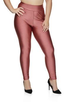 Plus Size Solid Spandex Leggings - 8445020624992