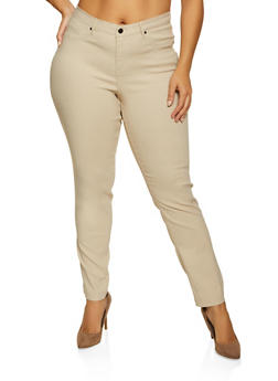 Plus Size Stretch Solid Pants - 8448056570017