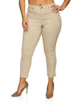 Plus Size Fixed Cuff Stretch Pants - 8448056571115