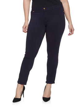 Plus Size Cuffed Push Up Jeans - 8448074631417