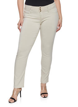 Plus Size 3 Button Hyperstretch Jeans - 8448074631571