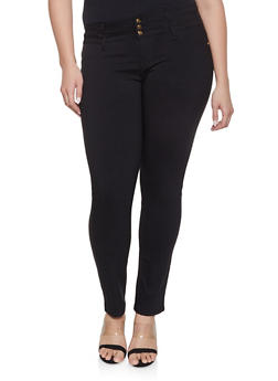 Plus Size 3 Button Hyperstretch Jeans - 8448074631715