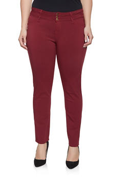 Plus Size 3 Button Hyperstretch Jeans - 8448074637151