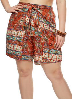 Plus Size Printed Tie Wrap Shorts - 8452020620767