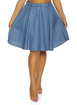 Plus Size Chambray Midi Skater Skirt - 8452020624400
