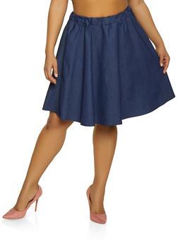 Plus Size Chambray Midi Skater Skirt - 8452020624400