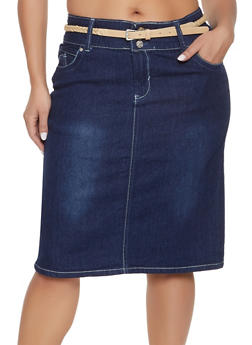 Plus Size 2 Button Belted Denim Skirt - 8452064461518