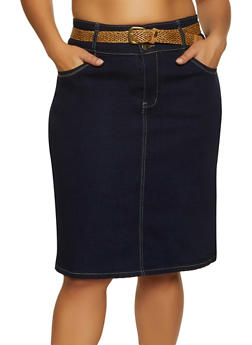 Plus Size Decorative Stitch Belted Denim Skirt - 8452064462046