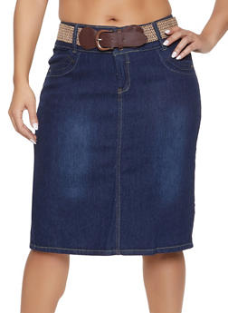 Plus Size Belted Denim Skirt - 8452064467185