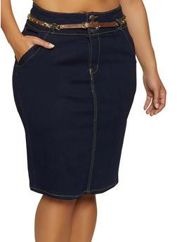 Belted Denim Pencil Skirt - 8452064467636