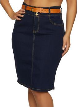 Plus Size 3 Button Jean Pencil Skirt - 8452064468505