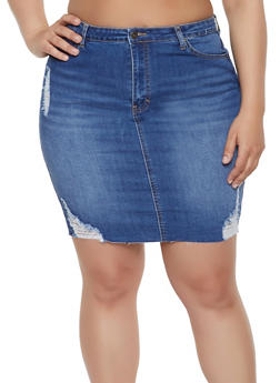 Plus Size WAX Frayed Denim Skirt - 8452071619013