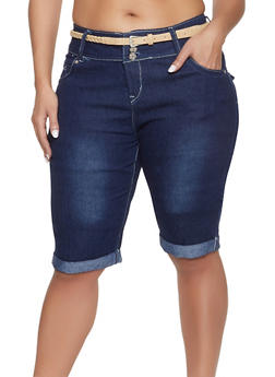 Plus Size Belted Denim Bermuda Shorts - 8454064467185