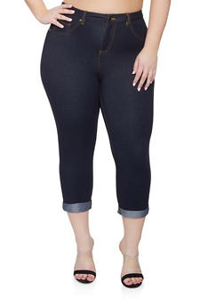 Plus Size Denim Knit Capri Pants - 8455056570166