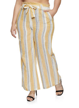 Plus Size Striped Linen Paper Bag Waist Pants - 8465051060614