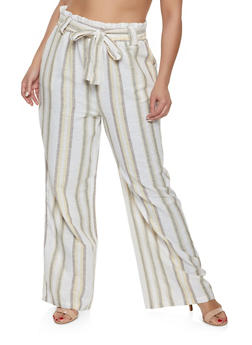 Plus Size Striped Linen Paper Bag Waist Pants - 8465051060614