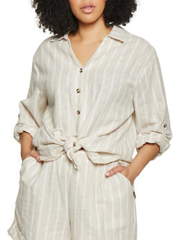 Plus Size Linen Striped Button Front Shirt - 8465051062807