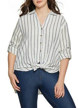 Plus Size Linen Striped Button Front Shirt - 8465051062807