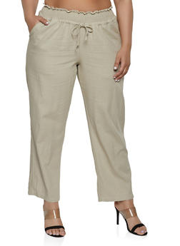 Plus Size Smocked Waist Linen Pants - 8465051063197