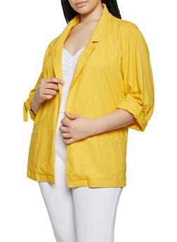 Plus Size Linen Blazer - 8465051063277