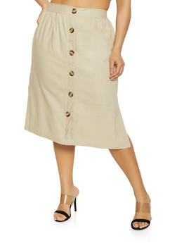 Plus Size Faux Button Linen Skirt - 8465051063656