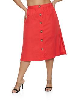 Plus Size Faux Button Linen Skirt - 8465051063656