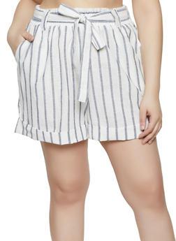 Plus Size Linen Tie Front Shorts - 8465051065175