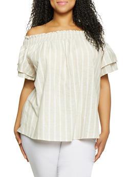 Plus Size Linen Off the Shoulder Top - 8465051066067