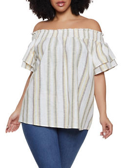 Plus Size Linen Off the Shoulder Top - 8465051066067