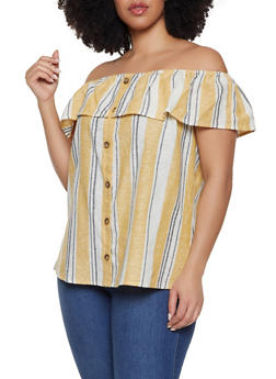 Plus Size Off the Shoulder Linen Top - 8465051066069