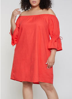 Plus Size Off the Shoulder Linen Shift Dress - 8465051066368
