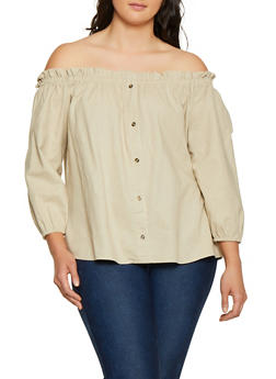 Plus Size Linen Off the Shoulder Top | 8465051066496 - 8465051066496