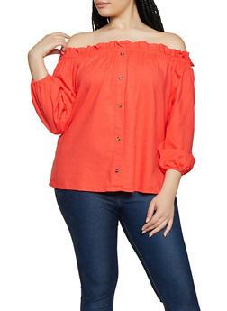 Plus Size Linen Off the Shoulder Top | 8465051066496 - 8465051066496