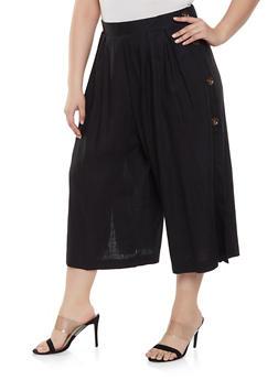 Plus Size Cropped Linen Pants - Black - Size 2X - 8465051066614