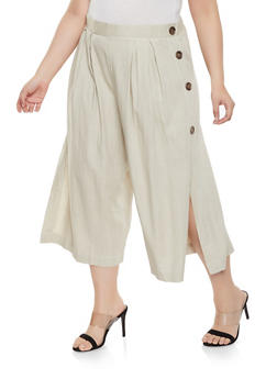 Plus Size Cropped Linen Pants - 8465051066614