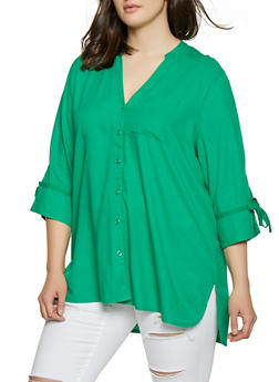 Plus Size Linen Button Front Shirt - 8465051066991