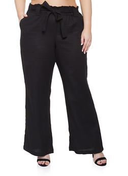 Plus Size Belted Paper Bag Waist Pants - 8465051069416