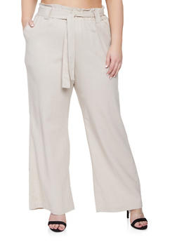 Plus Size Belted Paper Bag Waist Pants - 8465051069416