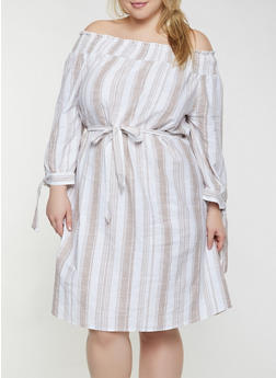 Plus Size Striped Off the Shoulder Linen Dress - 8465056121534