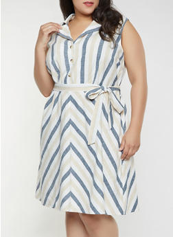 Plus Size Sleeveless Striped Linen Dress - 8465056121535