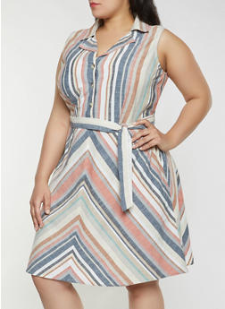 Plus Size Sleeveless Striped Linen Dress - 8465056121536